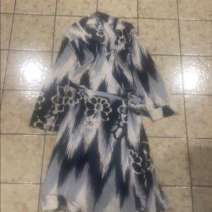 3 quarter sleeve wrap dress